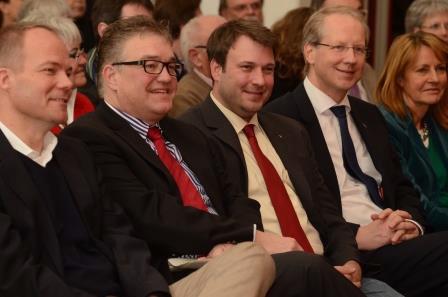 v. l.: Dr. Matthias Miersch, Hauke Jagau, Helge Zychlinski, Stefan Schostok und Edelgard Bulmahn